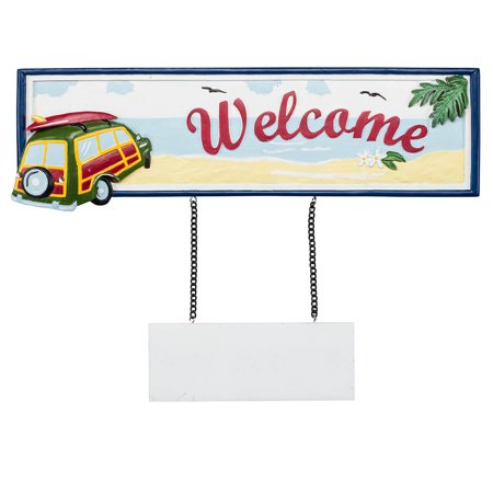 Fox Valley Traders Welcome Sign, Beach Scene Home (Scene Welcome Sign)