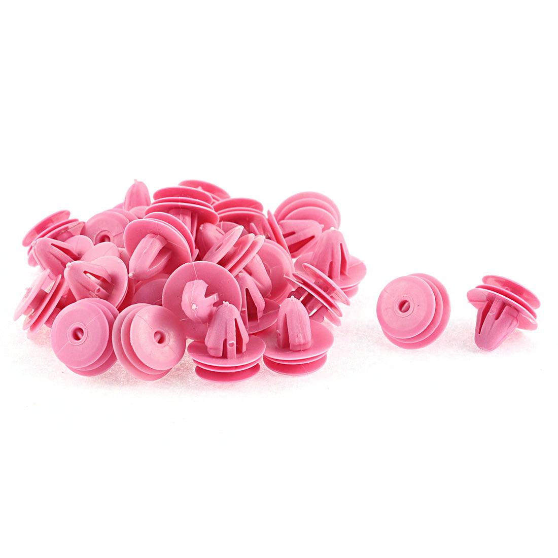 Unique Bargains 30 Pcs 10mm x 7.5mm Hole Fuchsia Plastic Rivets Fastener for  Elantra