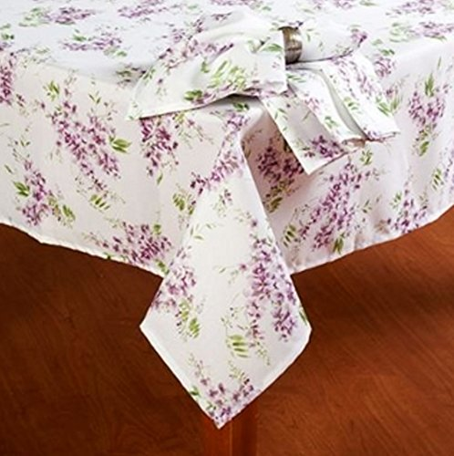 Laura Ashley Keighley Lavender Floral Print Fabric Tablecloth (60 X 102  Rectangle/Oblong)