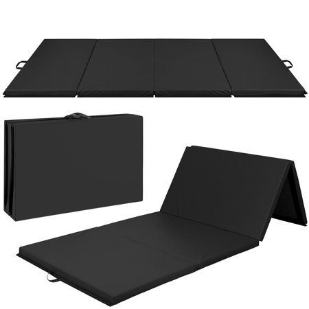 Best Choice Products 10ft 4-Panel Extra-Thick Foam Folding Exercise Gym Floor Mat for Gymnastics, Aerobics, Yoga, Martial Arts w/ Carrying Handles - Black