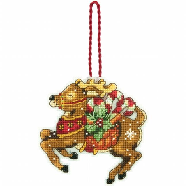 Susan Winget Reindeer Ornament Counted Cross Stitch Kit-3.75 in. x 3.5 in. 14 Count Plastic Canvas