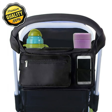 BEST STROLLER ORGANIZER for Smart Moms, Universal Baby Stroller Bag, Fits All Strollers, Premium Deep Cup Holders & Extra-Large Storage Space for iPhones, Diapers, (Best Rated Strollers 2019)