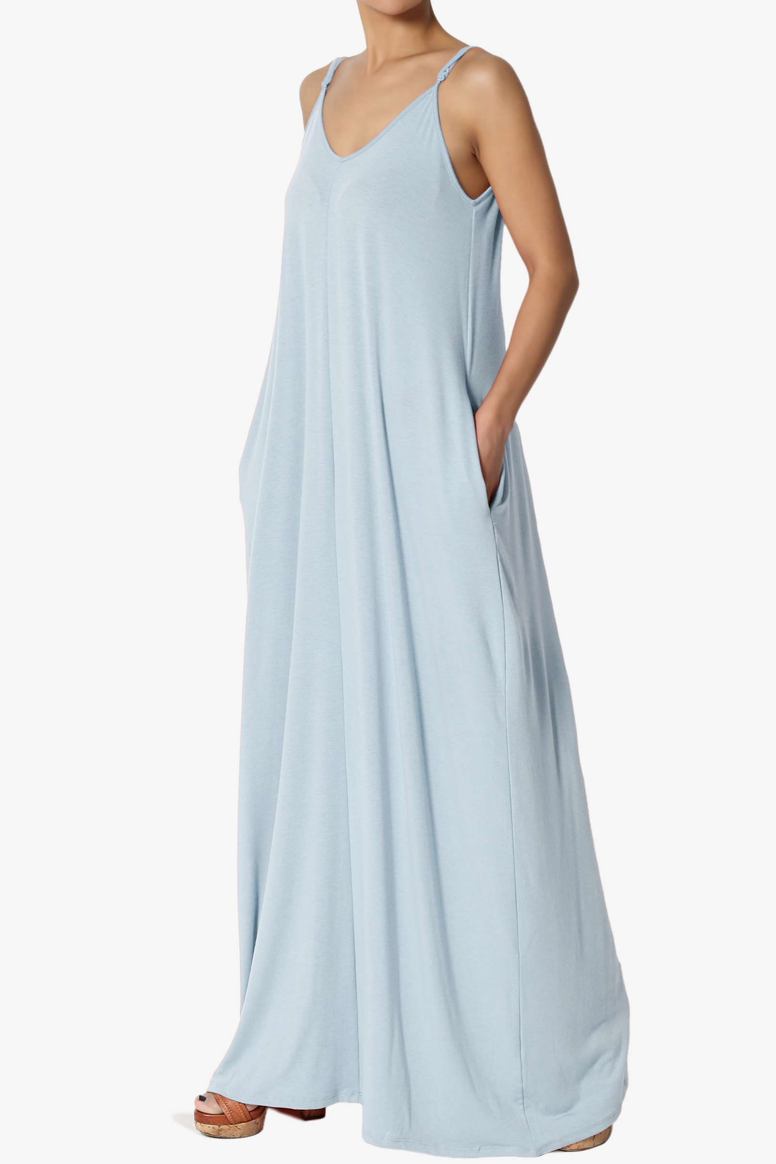 d02bf7ce05ae0 TheMogan - TheMogan Women's V-Neck Draped Jersey Casual Beach Cami Long  Maxi Dress W Pocket - Walmart.com