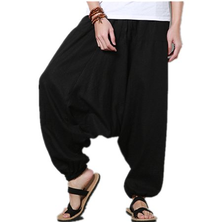 Big And Tall Trousers (Men's Harem Yoga Pants Casual Loose Wide Legs Trousers )