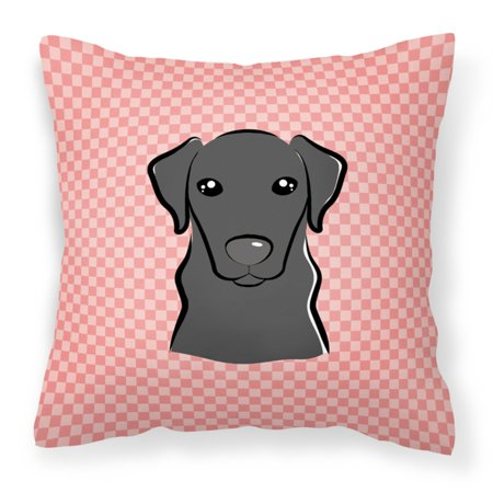 Carolines Treasures Checkerboard Pink Black Labrador Square Decorative Outdoor Pillow