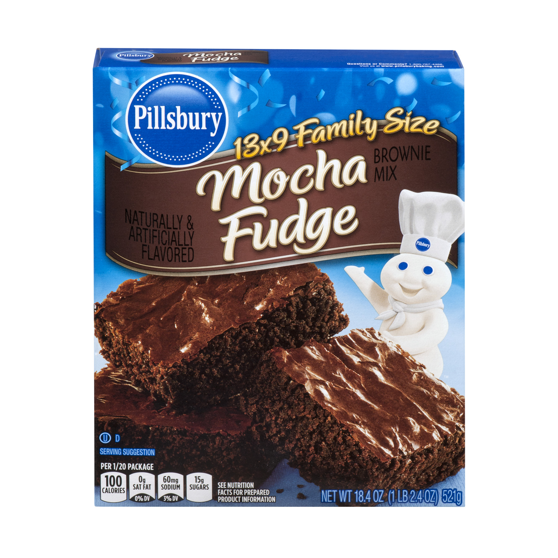 Pillsbury Brownie Mix Mocha Fudge Family Size, 18.4 OZ