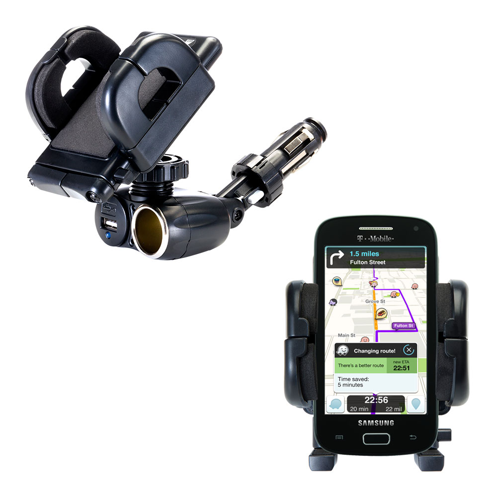 Dual USB / 12V Charger Car Cigarette Lighter Mount and Holder for the Samsung Galaxy S Relay