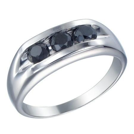 Silver Mens Black Diamond Engagement Ring 1 30 Ct