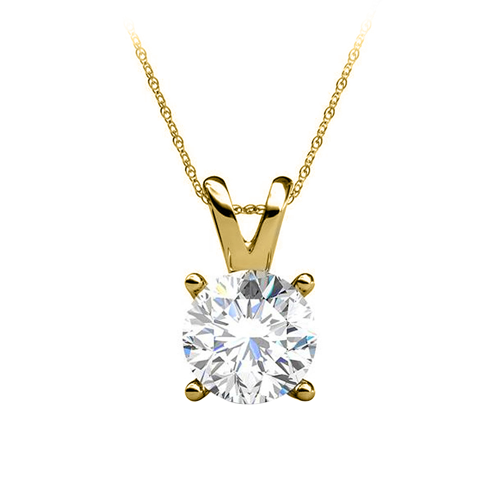 Round Diamond Solitaire Pendant in 14K Yellow Gold - image 2 of 2