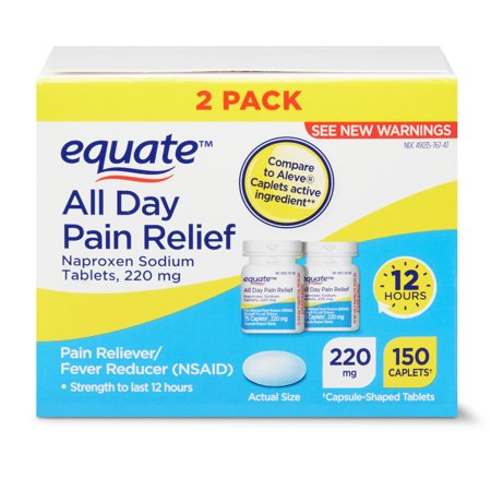 Equate All Day Pain Relief Naproxen Sodium Tablets, 220mg, 2x75 Ct ()