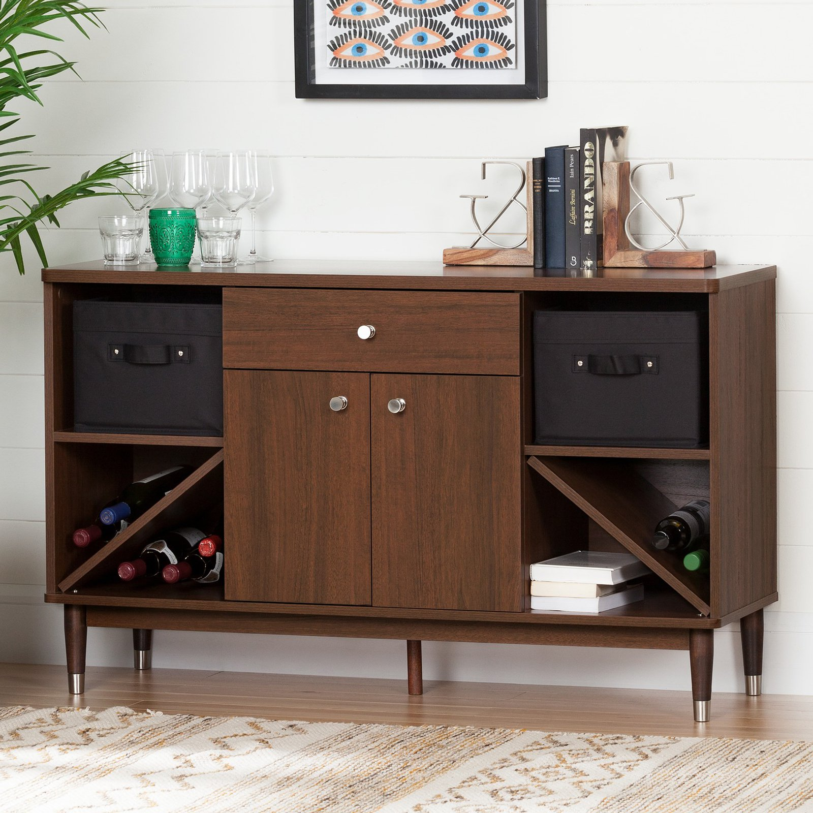 South Shore Olly Mid-Century modern Sideboard Storage Cabinet, Brown Walnut by South Shore