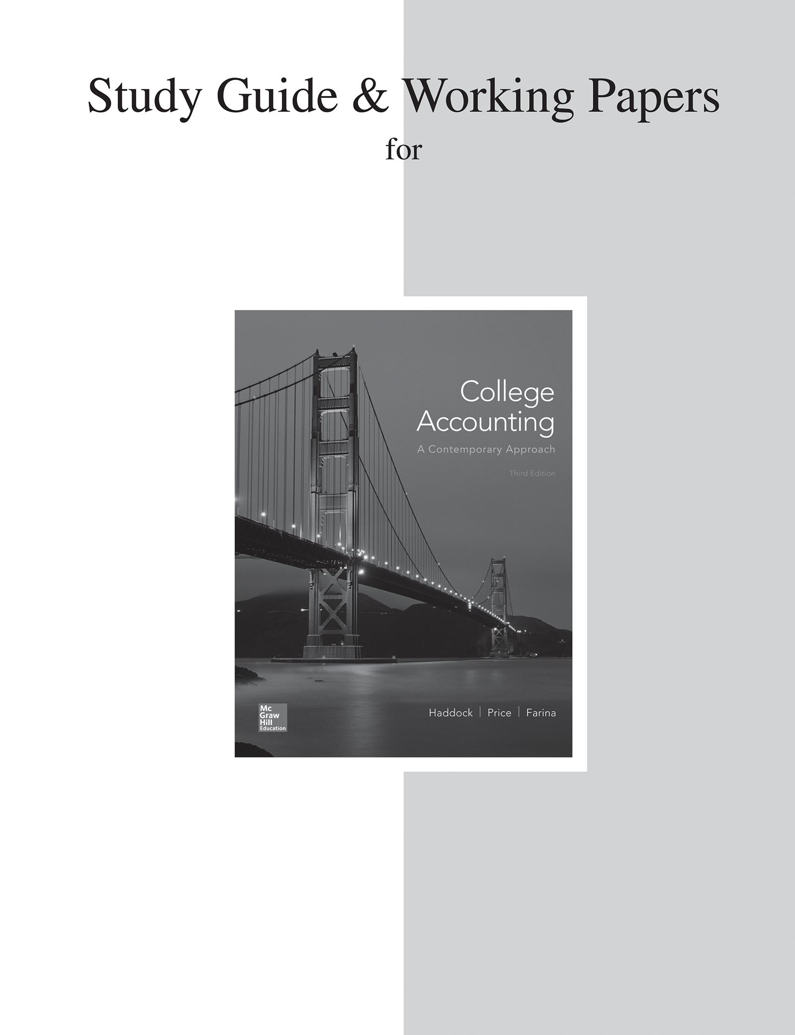 Study Guide and Working Papers for College Accounting (a Contemporary  Approach) - Walmart.com