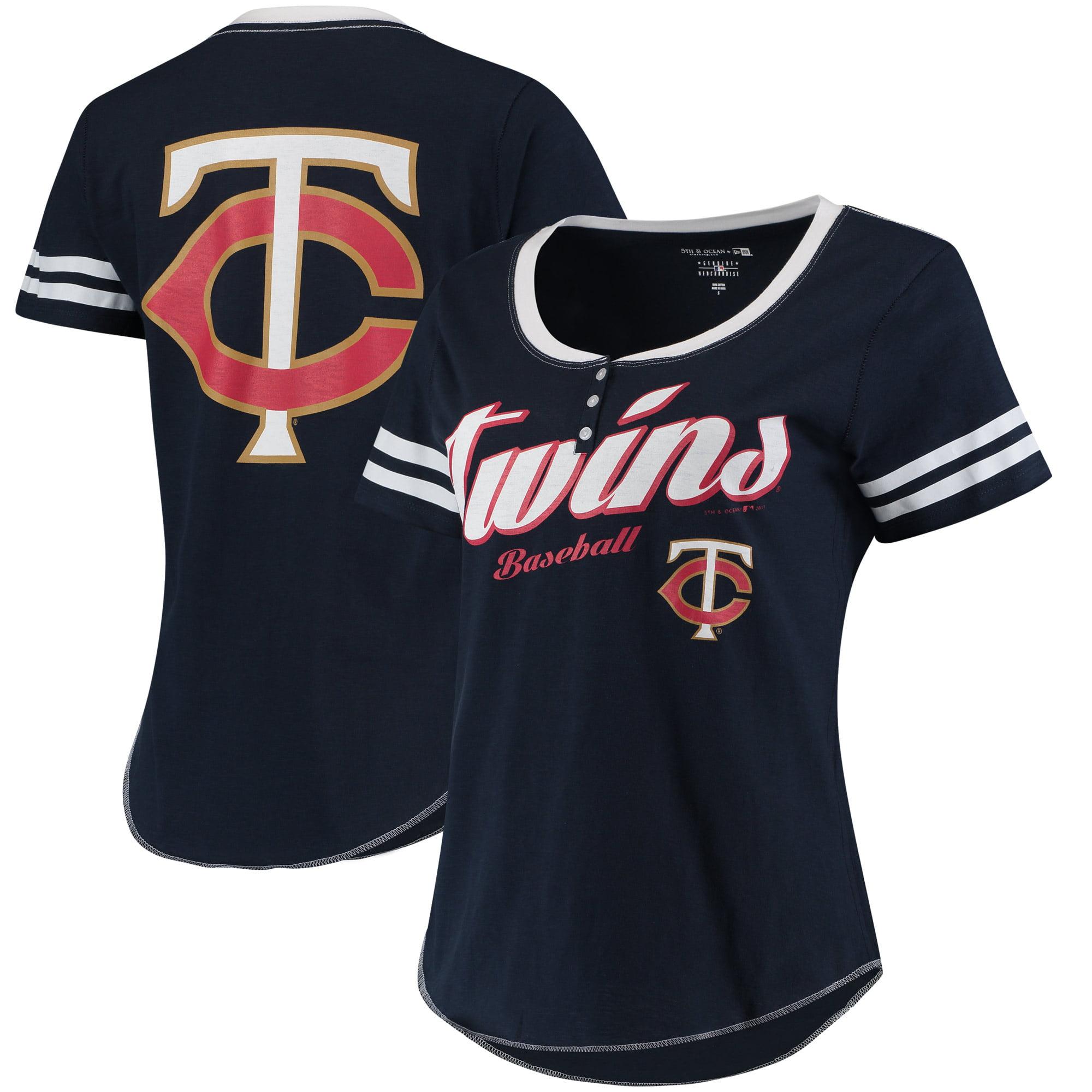 Minnesota Twins 5th & Ocean by New Era Women's Slub Henley T-Shirt - Navy/White