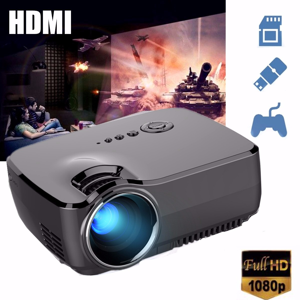 ELEGIANT GP70 1200LM 1080P HD Mini LED Projectors Home /U...