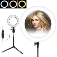 EEEKit LED Ring Light and Stand, 5500K Dimmable LED Ring Light, 10 Brightness Level, 3-Light Colors LED Ring Light Kit with Light Stand for Makeup, Camera Smart Phone ,YouTube,Self-Portrait Shooting
