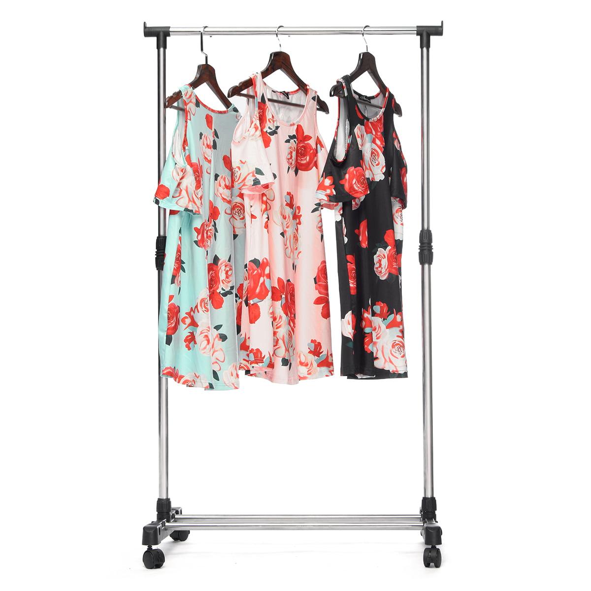 Clothes Coat Garment Dryer Rack Rail Hanging Hanger Hangers Adjustable -Double/Single Size