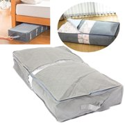 Gray Portable Under-bed Storage Bag Under The Bed Simplify Box Organizer with Clear Plastic Zippered Cover For Clothes Blankets Shoes item