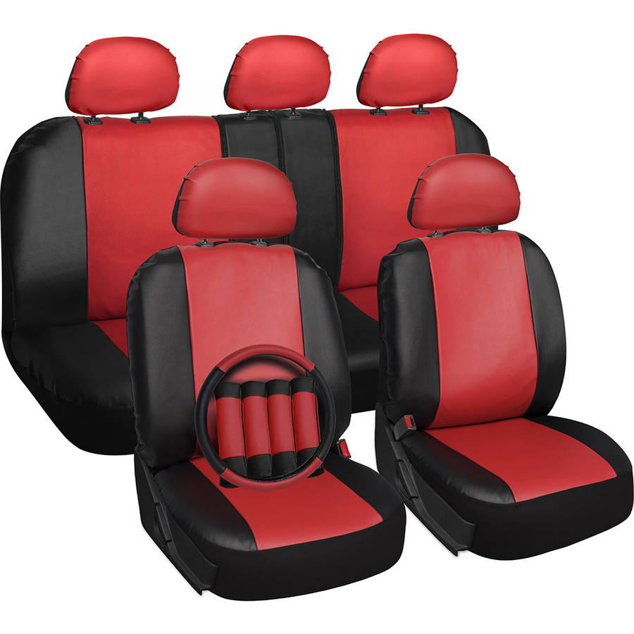Oxgord 17-Piece Set Faux Leather/Auto Seat Covers Set, Airbag Compatible, 50/50 or 60/40 Rear Split Bench, Universal Fit for Car, Truck, or SUV, FREE Steering Wheel Cover, Red