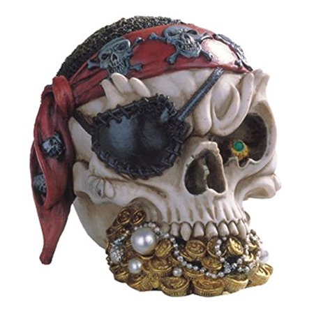 StealStreet SS-G-44015 Pirate Skull Head With Treasure Collectible Figurine Statue Decoration (Pirate Decoration)