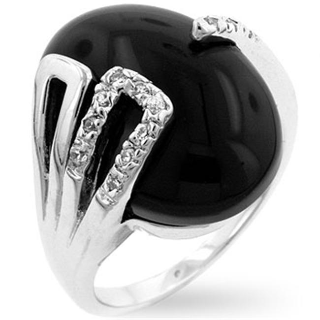 Kate Bissett R07890R-C52-05 Genuine Rhodium Plated with a Black Onyx Centerstone and Pave CZ on the Prongs in Silvertone