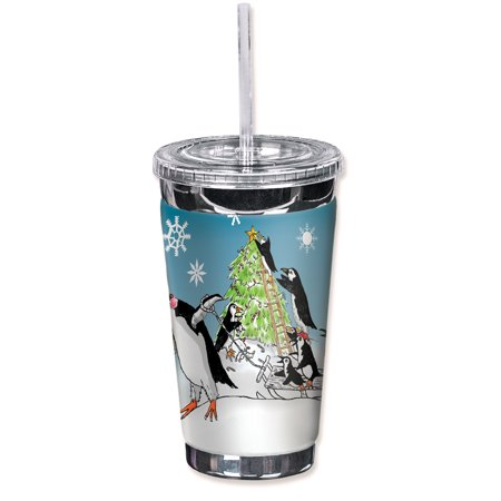 Mugzie Sweat Proof 16-Ounce To Go Tumbler with Insulated Wetsuit Cover - Penguin Christmas Tree ()