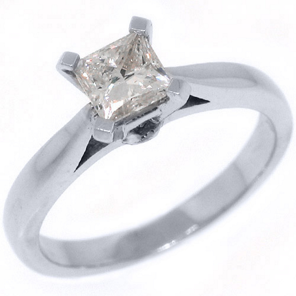 14k White Gold .78 Carats Solitaire Princess Cut Diamond Engagement Ring
