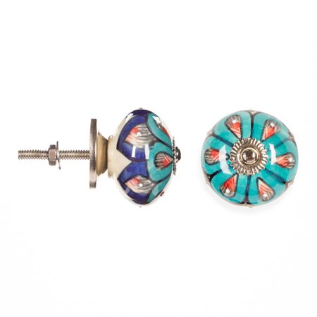 Decorative Knob - Ceramic - Round - Multicolor Flower
