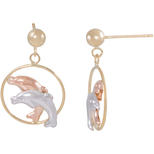 10kt Gold Two-Tone Dolphins in a Hoop Earrings