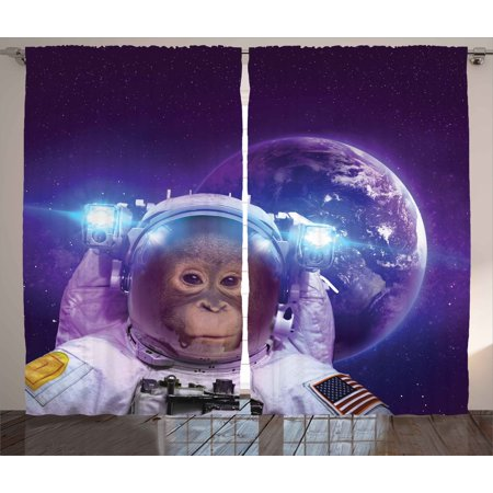 Space Decor Curtains 2 Panels Set, Astronaut Monkey on Outer Space with Planet Earth Background Humor Image, Window Drapes for Living Room Bedroom, 108W X 90L Inches, Violet White, by Ambesonne - Outer Space Decor