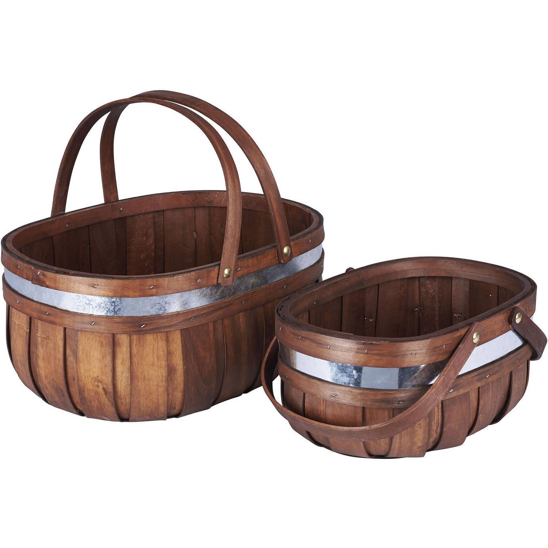 Household Essentials Decorative Cedar Market Basket, 2-Piece Set