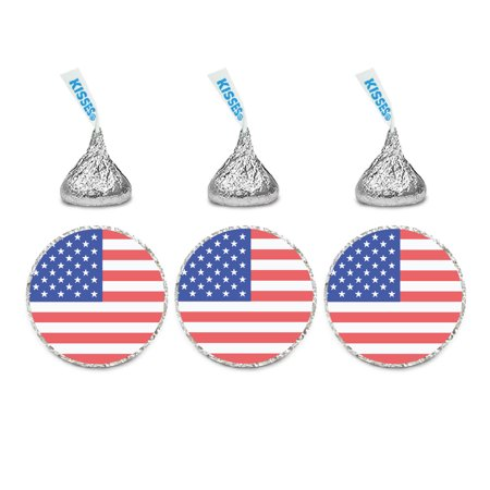 Custom Label Chocolate - Global World Flag Party Collection, Chocolate Drop Label Stickers, United States, 216-Pack