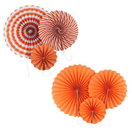Festival Party Paper Dots Stripes Print Round Hanging Decor Fan Orange 6 in 1 (Party Fans)