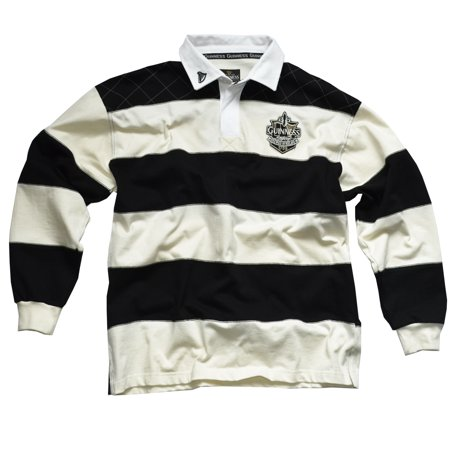 Chest Stripe Rugby Shirt - Guinness Rugby Shirt with Brewed in Dublin Crest Badge, Cream and Black Stripes