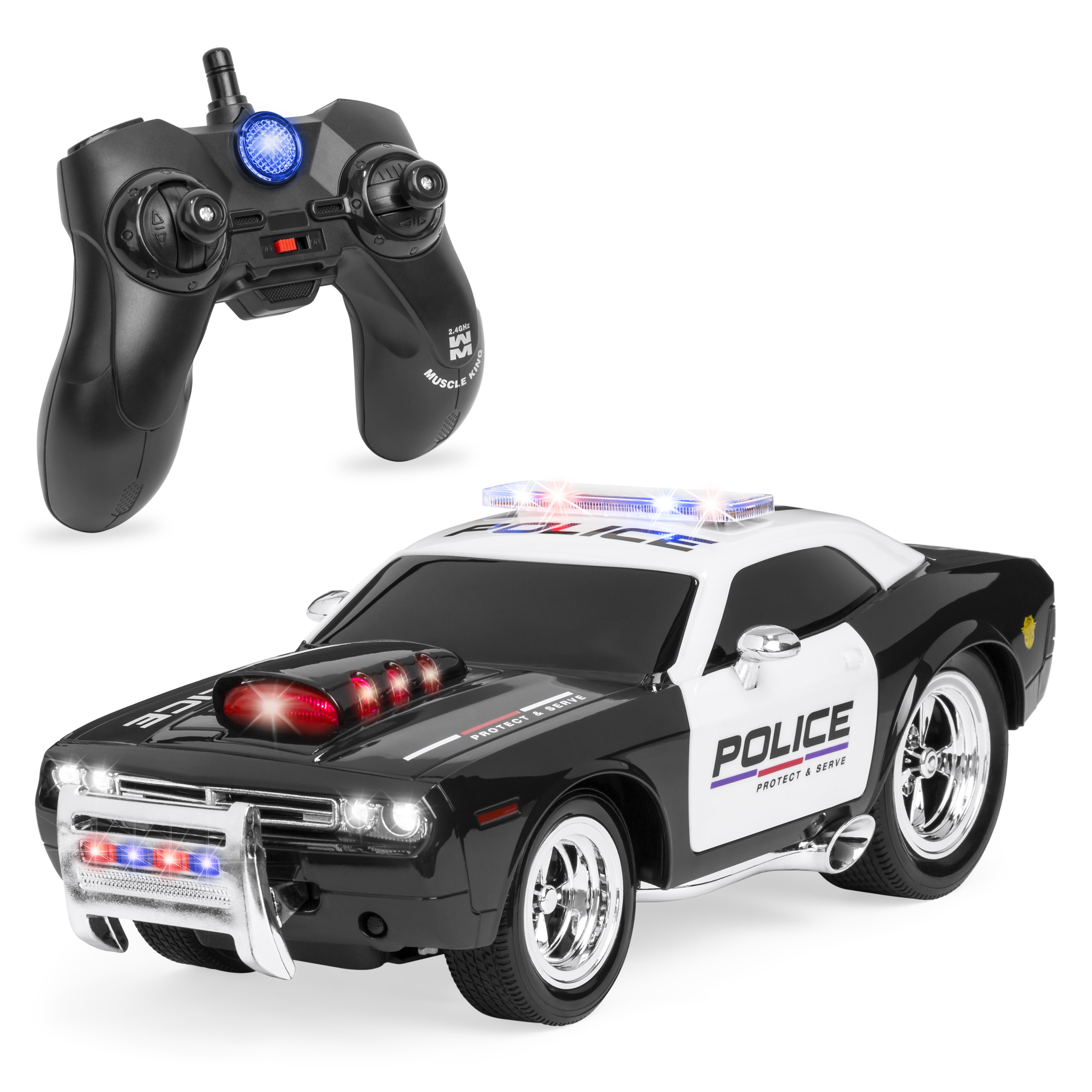 Best Choice Products 1/14 Scale 2.4G 6-Channel Remote Control RC Police Car w/ Lights and Sounds - Black/White