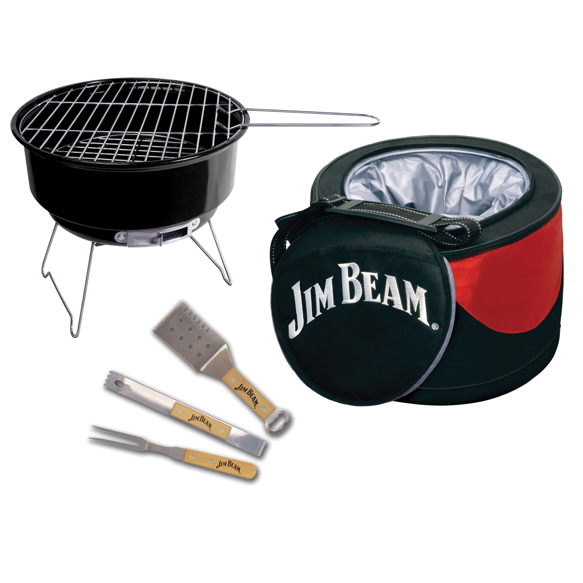 Jim Beam 5 Piece Parawood and Stainless Steel BBQ set with insulated cooler, sporting an exterior storage pocket and adjustable shoulder strap for easy portability