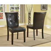Roundhill Blended Leather Parson Dining Side Chairs with Espresso Legs, Black, Set of 2