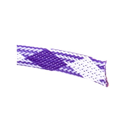 Purple White Expanding Braided Cable Wire Sheathing Sleeving Harness 100M x 10MM - image 1 de 2
