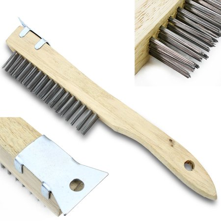 Stark Long Wooden Handle Stainless Steel Wire Cleaning Brush 4x16 Wire Bristle with Metal Scraper