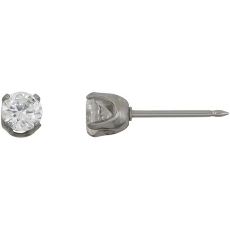Stainless Steel 5mm CZ Single Earring Home Ear Piercing Kit