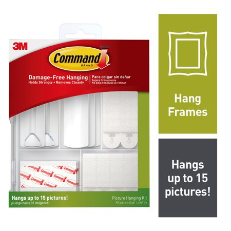 Command Picture Hanging Kit, Contents: 3 Sawtooth Picture Hangers, 2 Wire-Backed Picture Hangers, 5 Large Strips, 4 Sets of Large Picture Hanging Strips, 8 Sets of Small Picture Hanging Strips + More Elite Picture Hanger