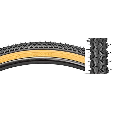 Hybrid Knobby Tire, 700 x 38, Black/Gum, Knobby tread for dirt roads and rough terrain By