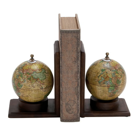 Design Bookends (Contemporary Wooden And Metal Globe Bookend With Simple Design)