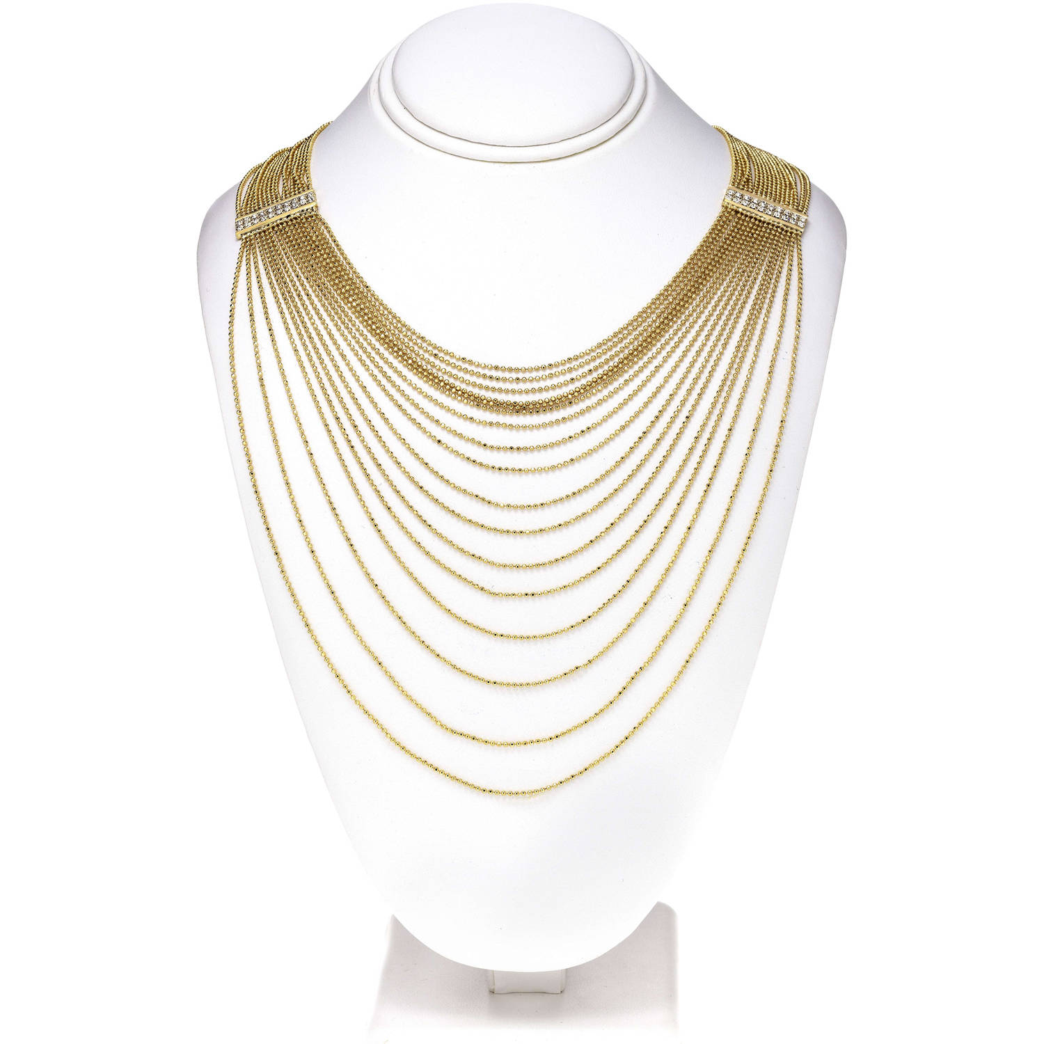 X & O Handset Austrian Crystal 14kt Gold-Plated Rectangle Drape Chain