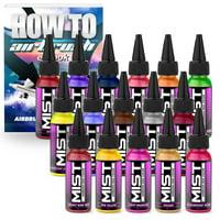 Mist 16 Color Set Premium Nail Art Polish Airbrush Paint Kit - 1 ounce
