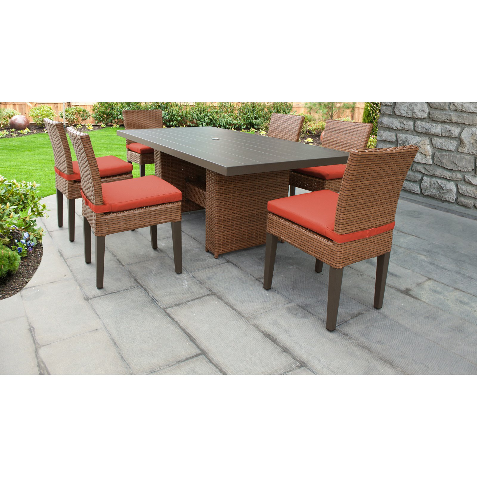 TK Classics Laguna Wicker 7 Piece Patio Dining Set with Armless Chairs