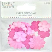 Simply Creative Blossoms Paper Flowers 21/pkg-pink