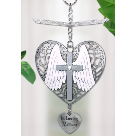 In Loving Memory Ornament Angel Wings And Cross On Filigree Heart