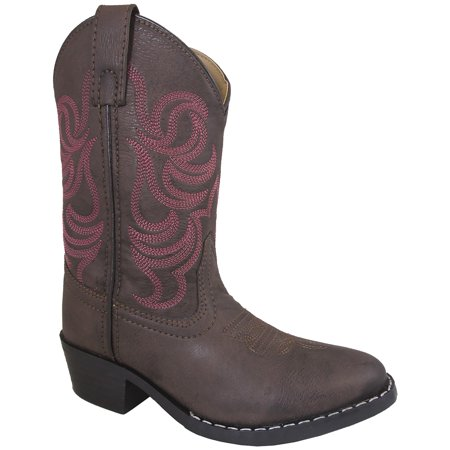 Smoky Mountain Girls Brown with Pink Stitch Monterey Western Cowboy Boots - Cheap Pink Cowboy Boots
