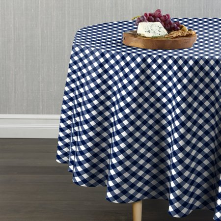 Fabric Textile Products Blue Gingham Check Tablecloth 60