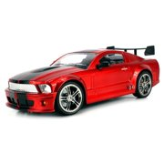SS Racers Mustang GT500 Rechargeable RC Car 1:14 Scale Ready To Run RTR w/ Bright LED Lights, Working Suspension, Steering Wheel Control (Colors May Vary)